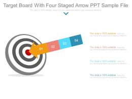 Target Board With Four Staged Arrow Ppt Sample File