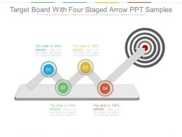 Target Board With Four Staged Arrow Ppt Samples