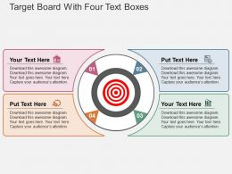 Target Board With Four Text Boxes Flat Powerpoint Design