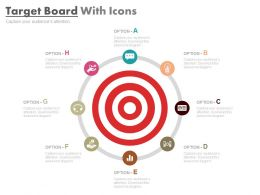 Target Board With Icons For Financial Target Analysis Powerpoint Slides