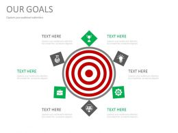 Target Board With Icons For Goal Achievement Powerpoint Slides