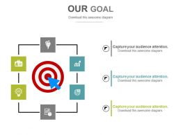 Target Board With Icons Goal Strategy Powerpoint Slides