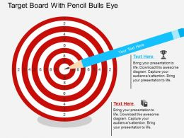 Target Board With Pencil Bulls Eye Flat Powerpoint Design