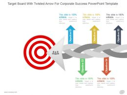 Target Board With Twisted Arrow For Corporate Success Powerpoint Template