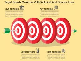 Target Borads On Arrow With Technical And Finance Icons Flat Powerpoint Design