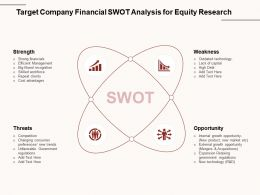 Target Company Financial SWOT Analysis For Equity Research Skilled Ppt Powerpoint Presentation Icon Brochure