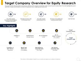 Target Company Overview For Equity Research Acquisition Ppt Powerpoint Presentation Summary Tips