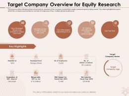 Target Company Overview For Equity Research Locations Ppt Powerpoint Presentation Portfolio Styles
