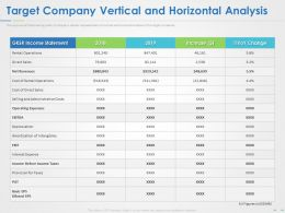 Target Company Vertical And Horizontal Analysis Ppt Powerpoint Presentation Summary Topics