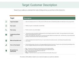 Target Customer Description Ppt Infographic Template Icon