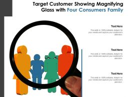 Target Customer Showing Magnifying Glass With Four Consumers Family