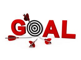 Target Dart Arrow In The Middle With Goal Word Stock Photo