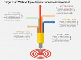 Target Dart With Multiple Arrows Success Achievement Flat Powerpoint Design