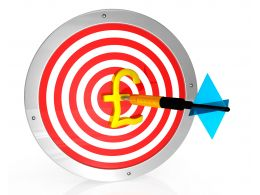 Target Dart With Pound Symbol And Arrow Stock Photo