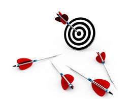 Target Dartboard And Arrows For Business Target Display Stock Photo