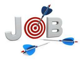 Target Dartboard With Arrow Showing Targets Of Jobs Stock Photo