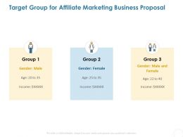 Target Group For Affiliate Marketing Business Proposal Ppt Powerpoint Presentation Example