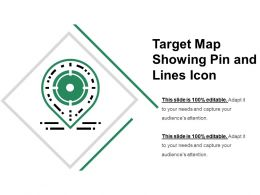 Target Map Showing Pin And Lines Icon