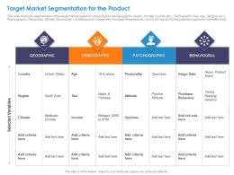 Target Market Segmentation For The Product Geographic Ppt Presentation Ideas