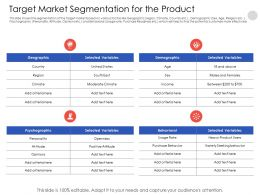 Target Market Segmentation For The Product N555 Powerpoint Presentation Tips