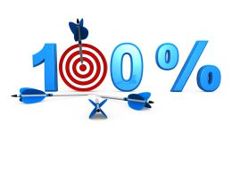 Target Of 100 Percent Shown By Dart And Arrows Stock Photo
