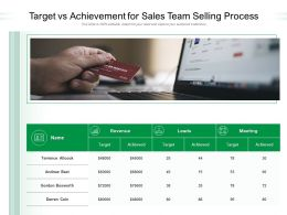 Target Vs Achievement For Sales Team Selling Process
