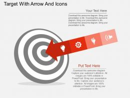 Target With Arrow And Icons Flat Powerpoint Design