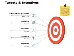 Targets And Incentives Achieve Sales Ppt Powerpoint Presentation File Grid