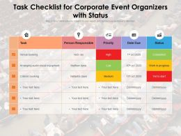 Task Checklist For Corporate Event Organizers With Status