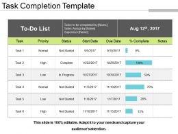 Task Completion Template Sample Presentation Ppt