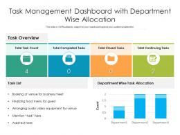 Task Management Dashboard With Department Wise Allocation