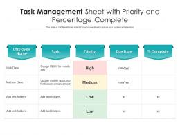 Task Management Sheet With Priority And Percentage Complete