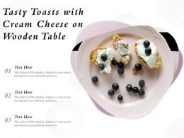 Tasty Toasts With Cream Cheese On Wooden Table