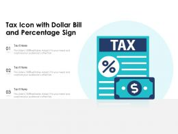Tax Icon With Dollar Bill And Percentage Sign
