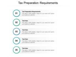 Tax Preparation Requirements Ppt Powerpoint Presentation Layouts Diagrams Cpb