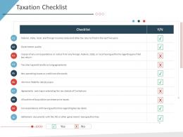 Taxation Checklist Business Purchase Due Diligence Ppt Ideas