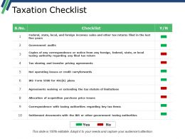 Taxation Checklist Generic Suffixes