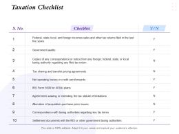 Taxation Checklist Government Audits Ppt Powerpoint Presentation Visual Aids Summary
