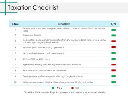 Taxation Checklist Ppt Gallery Slides