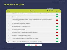Taxation Checklist Ppt Powerpoint Presentation Summary Shapes