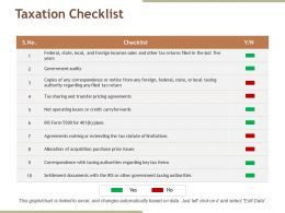 Taxation Checklist Ppt Sample