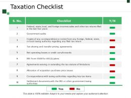 Taxation Checklist Presentation Examples