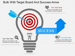 tb Bulb With Target Board And Success Arrow Flat Powerpoint Design