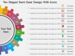 tb Ten Staged Semi Gear Design With Icons Flat Powerpoint Design