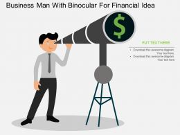 tc Business Man With Binocular For Financial Idea Flat Powerpoint Design