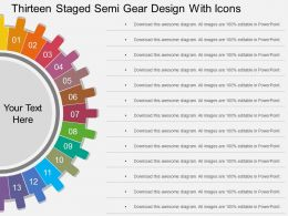 tc Thirteen Staged Semi Gear Design With Icons Flat Powerpoint Design