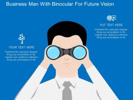 td Business Man With Binocular For Future Vision Flat Powerpoint Design