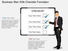 te Business Man With Checklist Formation Flat Powerpoint Design