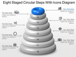 Te Eight Staged Circular Steps With Icons Diagram Powerpoint Template Slide