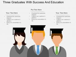 te Three Graduates With Success And Education Flat Powerpoint Design